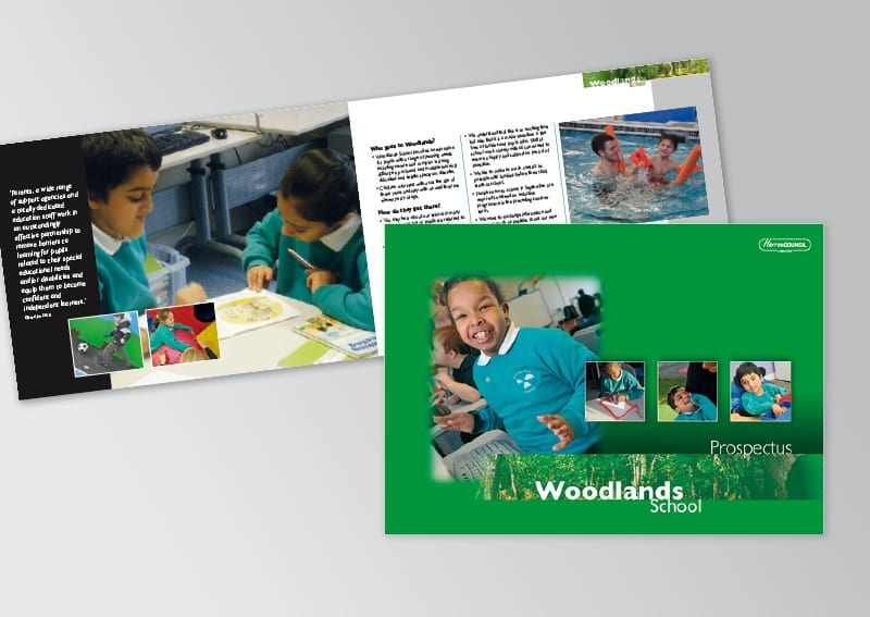 School Prospectus and folder design and print Woodlands