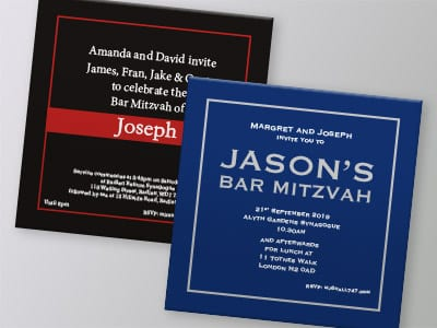 Bar Mitzvah Square Invitations