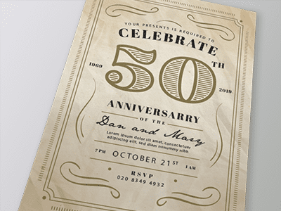 Foiled A5 Anniversary Invitation
