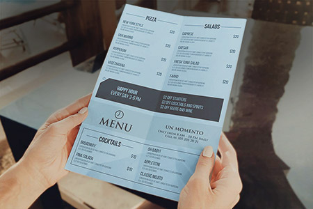 Anti-Bacterial Laminated Menu A4